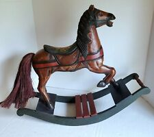 Vintage Hand Carved Doll Rocking Horse Solid Wood