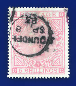 1882 SG130 5s Rose Blued Paper J123 GC Dundee CDS SP 8 83 G/Used Cat £4,800 dimo