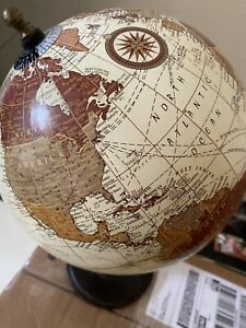 "World Globe Tan with Wood stand 14"" Tall Decorative. 8"" Globe. Not educational."