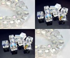 Lot Multicolor new White AB Square Cube Cut Glass Crystal Loose Spacer Beads
