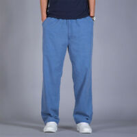 Men Loose Casual Pants Straight Leg Trousers Plus Size Long Summer Overall Blue