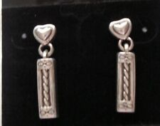 BRIGHTON DANGLE DROP POST INFINITY HEART SILVER PLATED EARRINGS FLAT BACK EUC