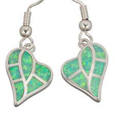Kiwi Green Fire Opal Inlay Heart Shape Silver Jewellery Dangle Drop Earrings