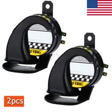 Pair Motorcycle Truck Car Black 12V 130dB Loud Snail Air Horn Siren Waterproof