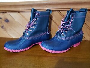 LIMITED LL BEAN Classic Women's Leather RARE BLUE PINK 8 inch Duck Boots Size 9