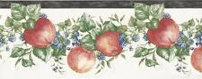 Wallpaper Border Designer Apple and Berries Green Leaf Garland with Black Trim