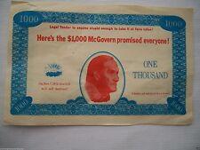 1972 GEORGE McGOVERN DEMOCRAT PRESIDENT POLITICAL BADGE POSTER SIGN HANDBILL