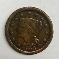 1846 Braided Hair Large Cent 1¢ Very Good