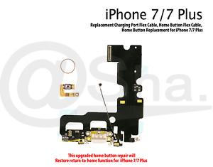 Gold - Restore Home Button Function & Charging port Flex Kit for iPhone 7 Plus