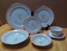 Rare Vintage Pink Trimmed  Sone China Made in Japan 7 pc Place Setting