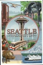 Seattle Washington Montage, Space Needle, Ferry, Monorail etc. - Modern Postcard