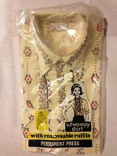 Blouse Women's Vintage 2 Way Shirt Removable Ruffle Size 34 Short Sleeve Yellow