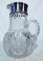 Brilliant ABP Cut Glass Crystal Pitcher Sterling Silver Collar Spout Honeycomb