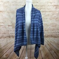 Chaps Womens Blue White Striped Long Sleeve Poncho Cardigan Top Size Large