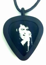 GUITAR PICK Necklace by Pickbandz PICK HOLDER in Black w/ LIMITED ELVIS pick!
