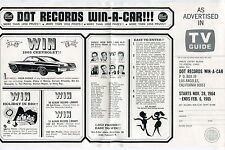 "1964-65 DOT RECORDS ""WIN-A-CAR"" Contest Sheet w/ Entry Form"