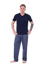 Mens Pyjama Sets Rich Cotton Woven check bottoms Lounge Pants Lt Weight T-shirts
