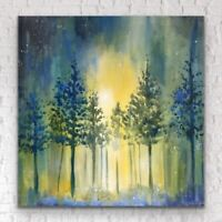 "20""x24"" - X LARGE ORIGINAL Painting - Moonlit Forest By JENNIFER TAYLOR"