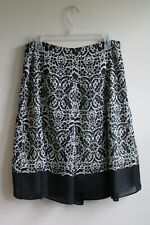 Geoffrey Beene 6 Black White Geometric Floral Skirt A-Line Lined