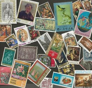 CLASSICAL PAINTINGS - 30 THEMATIC STAMPS ALL DIFFERENT