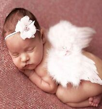 New NEWBORN Baby Girl WHITE ANGEL WINGS + FLOWER HEADBAND SET Photography Prop