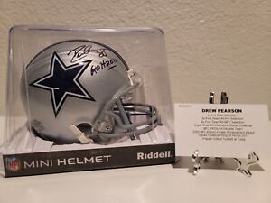 "Drew Pearson autographed mini helmet ""ROH 2011"" Inscription. Tristar Auth."