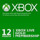 12 Month Microsoft Xbox Live Gold Membership Subscription for Xbox One/Xbox 360