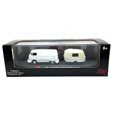 Malibu Volkswagen VW Kasten Wagen Van Bus +Trailer Caravan White Die Cast 1/87