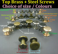 Flat Head Chicago Screw/Studs/Rivets Belt Strap Fastener Screwback Leather Craft