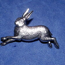 Pewter Pagan Witch Running Hare Pin Brooch