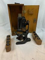 Antique BAUSCH & LOMB VINTAGE MODEL MICROSCOPE W/WOOD CASE + Lenses 309