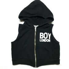 BOY LONDON Kid's Made in USA Eagle Logo Black Hoodie Zipper Vest - Size 2