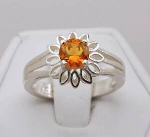 Citrine .70 cts  6mm Round Flower Ring - Size 7 - Sterling Silver