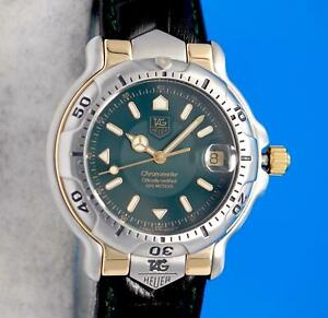 Mens Tag Heuer 6000 18K Gold & SS Chronometer Watch - Green Dial & Band - WH5153