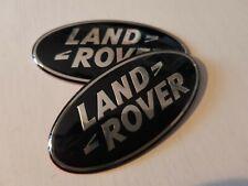2X BLACK LAND ROVER BADGE EMBLEM FRONT REAR 86MM GRILL EVOQUE VELAR SPORT VOGUE
