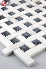 Mosaico de Vidrio Mármol Azulejos Negro Blanco 30x30