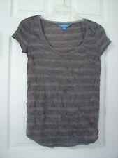 Simply Vera Wang Sz XS Gray Striped Loose Fit Crinkle Top Shirt
