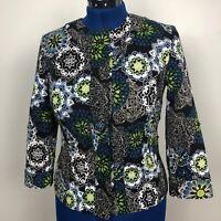 Chico's Womens Blazer Size 0 Multicolor Embellished Jacket 3/4 Sleeve