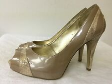 Nine West leather Pumps High Heels Open Toes shoes-Beige & snake ~ size 9M