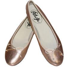 Rose-Gold Ballerina Schuhe - Rosa-Rosé-Gold-Metallic Ballerinas Slipper Leder