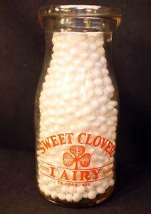 Vintage Sweet Clover Dairy Milk Bottle De Pere Wisconsin ½ Pint Little Boy