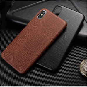 Luxury Phone Case Vintage Brown Crocodile Texture leather cover for iphone XS
