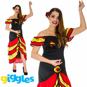 Spanish Senorita Womens Fancy Dress Costume Flamenco Dancer Mexican Rumba Salsa