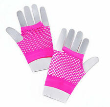 Corto Rosa Neón Fishnet Guantes Fame Nu Rave Fiesta 80's Disco Fancy Dress