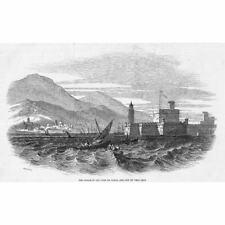 MEXICO Castle of San Juan & City of Vera Cruz - Antique Print 1847