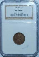 1914 D NGC XF40 Lincoln Wheat Cent Penny