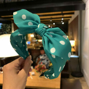 Women's Bow Hairband Print Bowknot Headband Dot Wide Hair Hoop Band Accessories