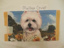Fabric Mailbox Cover, Tie on, Westie, West Highland Terrier with Sunflowers