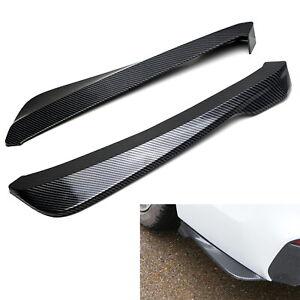 Black Carbon Fiber Finish PP Universal Fit Rear Bumper Lip Splitter Diffusers