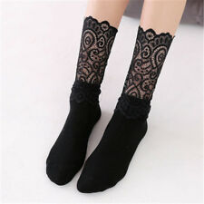 Hipster Lovely Long Socks Elastic Female Sexy Retro Lace Floral Black Mesh Soxes